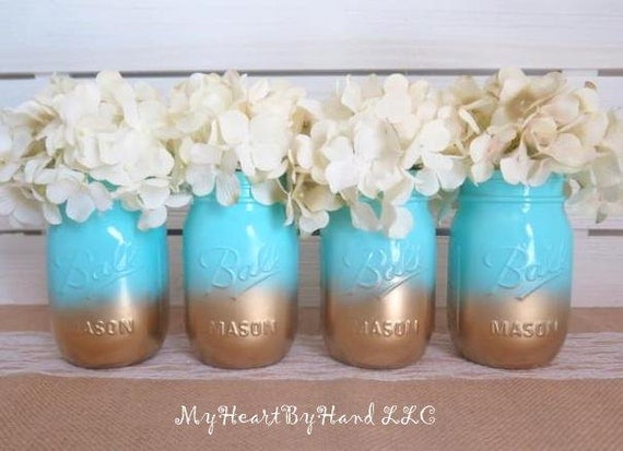 baby shower mason jar centerpieces ombre mason jars baby teal and