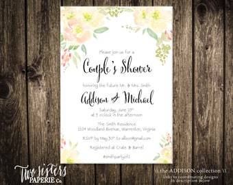Floral Watercolor Couples Shower Invitation - Couples Shower Invitation - Yellow Floral Invitation - Yellow Flowers - ADDISON Collection