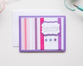 Purple Stripe Birthday Card, Handmade Greeting Cards