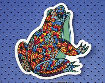 Colorful Tribal Toad Die Cut Bumper Sticker