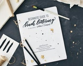 Beginners Guide to Brush Lettering, learn calligraphy, hand lettering workbook, practice sheets,