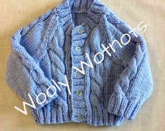 Cabled baby cardigan~Blue~0-6 months
