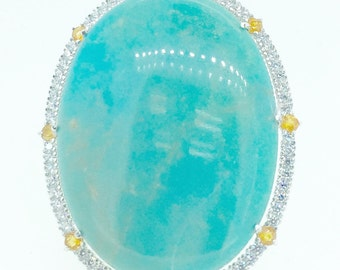 Turquoise, citrine and CZirconia sterling silver big ring impressive positive energy women