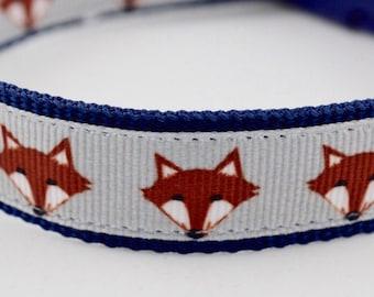 Grey and Navy Fox Design Dog Collar