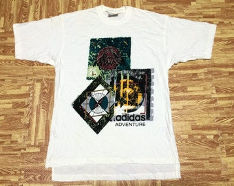 "vintage adidas trefoil adventure t shirt medium chest 21"" made in Colombia"