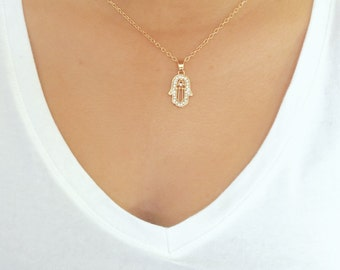 SALE...  Hamsa Hand Necklace, Charm, CZ Pendant Necklace