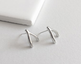 Wishbone Earrings, Silver Earrings