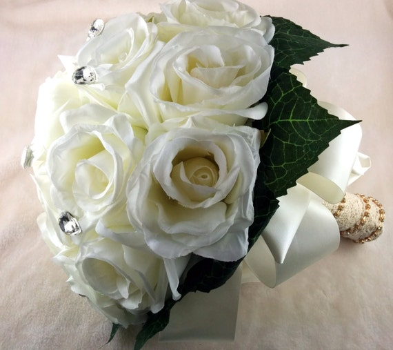 Bridal Bouquet Out Of Ribbons : Vintage white rose bridal bouquet wedding