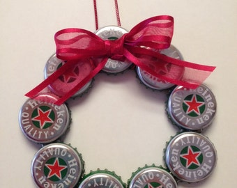 Upcycled Heineken Beer Bottle Caps Christmas Holiday Ornaments  Unique and Handmade