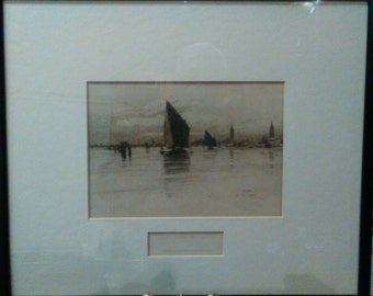 Venice From The Lagoon By Wilfrid Ball Original Etching