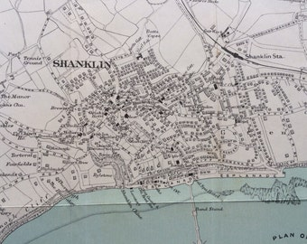 1940s Shanklin, Isle of Wight original vintage map, street plan