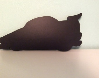 Race car silhouette blackboard or chalkboard