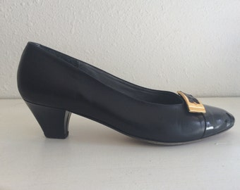 Vintage Bally Black Italian Patent Leather Pumps 8.5