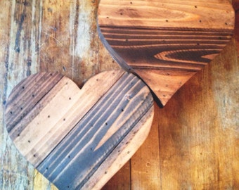 Rustic 8 inch wide wood hearts