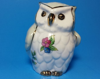 FREE SHIPPING, Vintage Owl Figurine, Porcelan Floral Owl, Hand Painted With Real Gold Accents, Animal Figurine, Bird Figurine