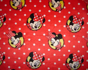 "MINKY Disney Minnie Mouse Fabric 28"" Remnant/ Bolt end 1477"