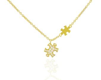 Puzzle Necklace, Puzzle Jewelry, Puzzle Piece Necklace, Double Puzzle Jewelry, Autism Jewelry