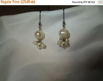 VALENTINES SALE stunning vintage sterling silver and pearl dangle earrings