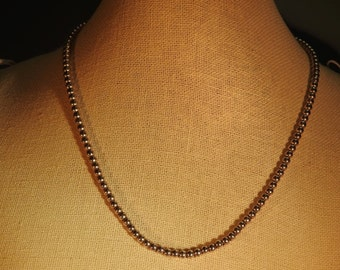 VALENTINES SALE stunning vintage sterling silver bead necklace 16 inches