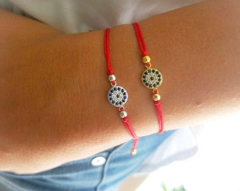 Red string evil eye bracelet silver.  Red Evil EYE bracelet silver . Protection bracelet. Red String evil eye bracelet silver cz. Red String