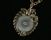 antique french all seeing radiant eye chimera amulet necklace