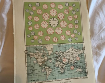 Antique time zone map of the world 1918