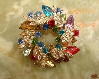 Vintage Austrian Crystal Brooch, Multi coloured Crystal Brooch, Statement Crystal Brooch