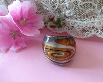 Murano Glass Dress Ring, Venetian Murano Glass Ring, Brown Gold Ring