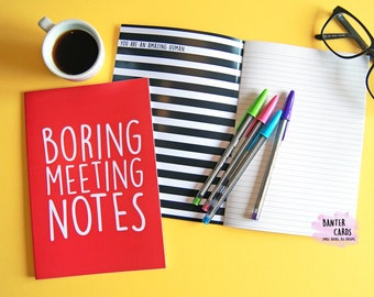 Boring Meeting Notes Notepad,stationary,writing pad,planner,notes,diary,office gifts,funny gifts,banter cards,girlfriend birthday,new job