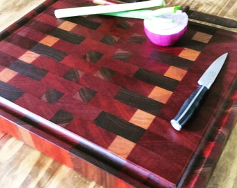 Large End Grain Butcher Block Cutting Board (Cherry, Walnut, Mahogany), Cook Gift, Kitchen Decor, Anniversary Gift, Housewarming Gift, 5 Yea
