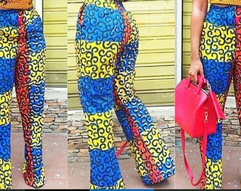 African Mixed Print Pants    African Pants, Mixed Ankara Print, Ankara Trousers, African Print Trousers, African Clothing, African Wedding