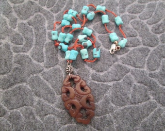 Turquoise & Carnelian AMULET necklace, vintage 1970's, new>>very Pretty!!