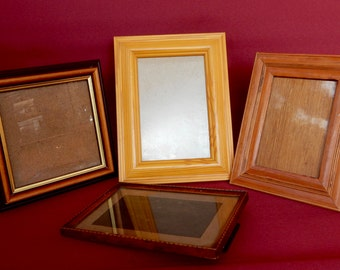 Vintage Set of 4 Mismatch Wooden Picture frames , shabby chic, Photo frame.