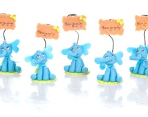 Set of 5 elephant to Capucakes handmade cake topper  polymer (cold porcelain) With or Without name