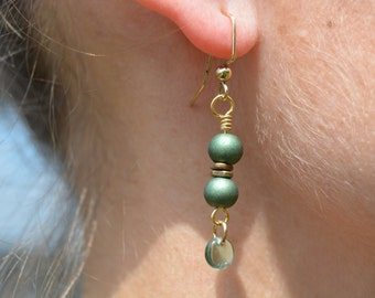 Gold and Light Green Earrings