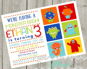 Printable Monster Bash Birthday Invitation - Cute Monster Invitation - Monster Invitation - Baby Monster Invitation