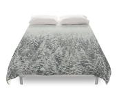 Snow Forest Duvet Cover, Nature Photography, Landscape Photo, Winter Bedding, Christmas Trees, White, Duvet Full, Duvet Queen, Duvet King