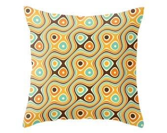 Retro Pillow, Psychedelic Pattern, Mid Century Geometric Art, Hippie Geometry Design, Sixties Throw Pillows, Zipper Cover, Vintage Cushion