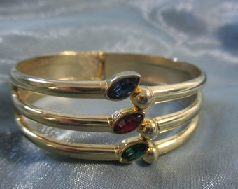 Gold Tone Hinged Cuff Bracelet with Three Faux Gems