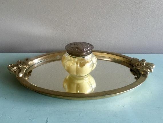 Gold mirrored vanity tray perfume tray bathroom tray bow for Mirrored bathroom tray