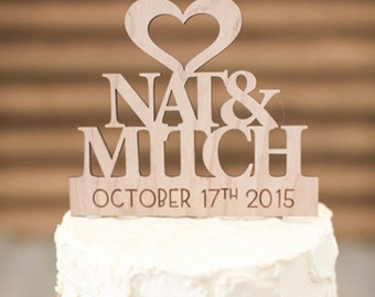 Wedding Cake Topper, Rustic Wedding, Personalised Cake Topper, Rustic Bride