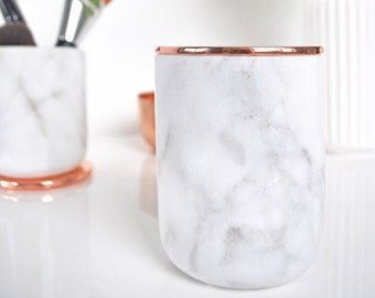 Real White Marble Jar with Copper Lid, Cutlery Holder, Carrara Marble Jar, Kitchen Accessories, Kitchen Storage, Marble accessories