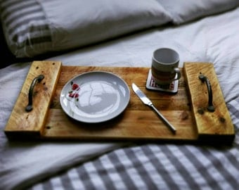 Rustic wooden serving tray.