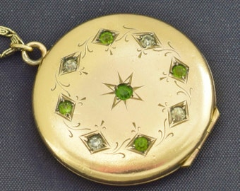 Victorian Gold Filled Locket and Chain Necklace Pendant with Green & Clear Stones ~ Lot 453