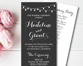 Printable Wedding Program, String Lights Wedding Program, Hanging Lights Wedding PDF, Digital Wedding Program, Oh Darling Paper Program