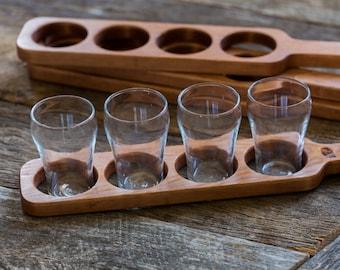 Beer Flight Paddle (Pine) with glasses, Beer Sampling, Beer Tasting, Beer Club, Handmade in Canada, Men & Women, Handcrafted, Wedding gift
