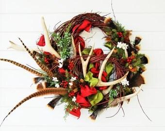 """CUSTOM ORDER Christmas Elk and  Deer Antler Wreath """" Yuletide Blessings """""""