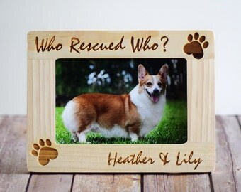 Who Rescued Who Personalized Pet Picture Photo Frame- Custom Picture Frame- Pet adoption frames- Pet lover gifts- Dog Frame- Cat Frame