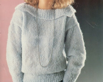 womens knitting pattern womens mohair sweater with wide collar 26-40 inch 10 ply mohair knitting pattern for women pdf instant download