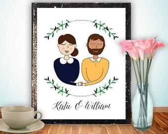 Custom portrait illustration couple personalized sketch wedding anniversary, couple drawing illustration, printable print wall art digital